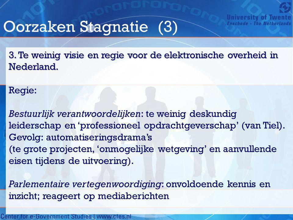 Oorzaken Stagnatie (3) 3. Te weinig visie en regie voor de elektronische overheid in Nederland. Regie: Bestuurlijk verantwoordelijken: te weinig desku