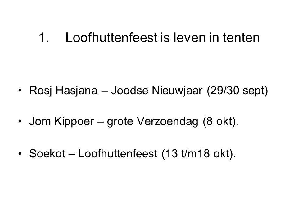 •Rosj Hasjana – Joodse Nieuwjaar (29/30 sept) •Jom Kippoer – grote Verzoendag (8 okt). •Soekot – Loofhuttenfeest (13 t/m18 okt).