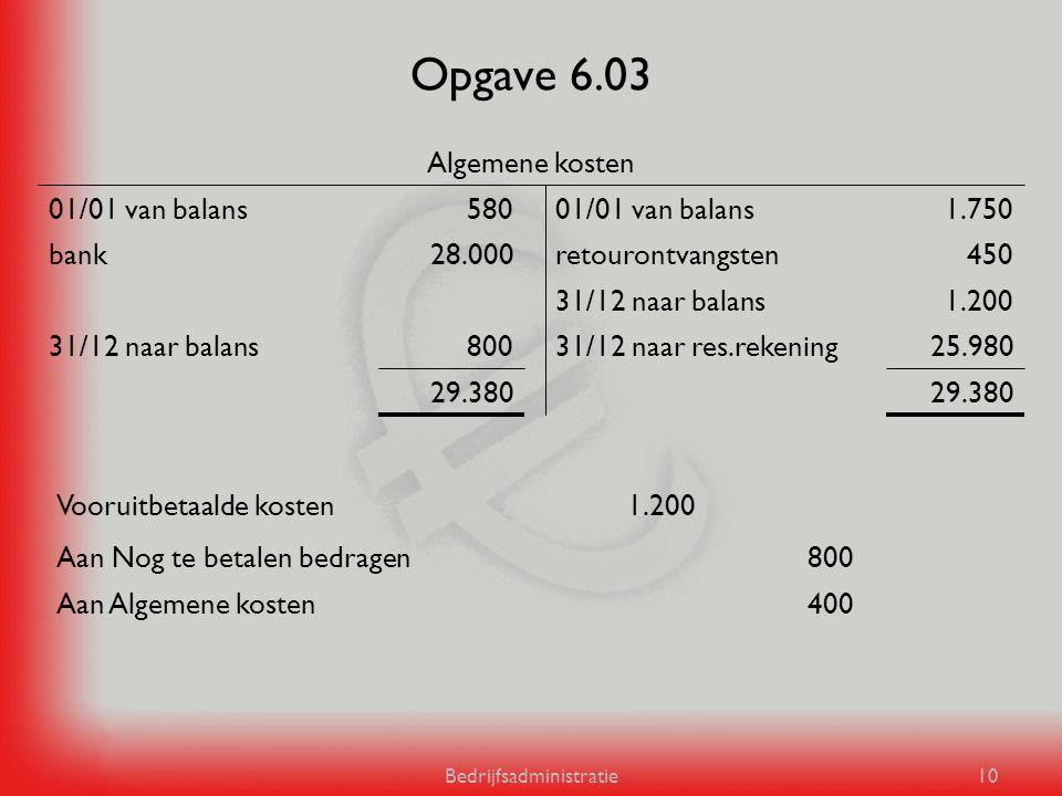 Bedrijfsadministratie10 Opgave 6.03 29.380 25.98031/12 naar res.rekening80031/12 naar balans 1.20031/12 naar balans 450retourontvangsten28.000bank 1.7