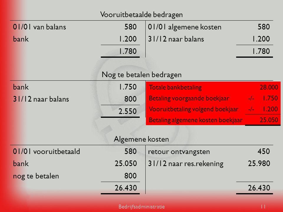 Bedrijfsadministratie11 1.780 1.20031/12 naar balans1.200bank 58001/01 algemene kosten58001/01 van balans Vooruitbetaalde bedragen 2.550 800algemene k