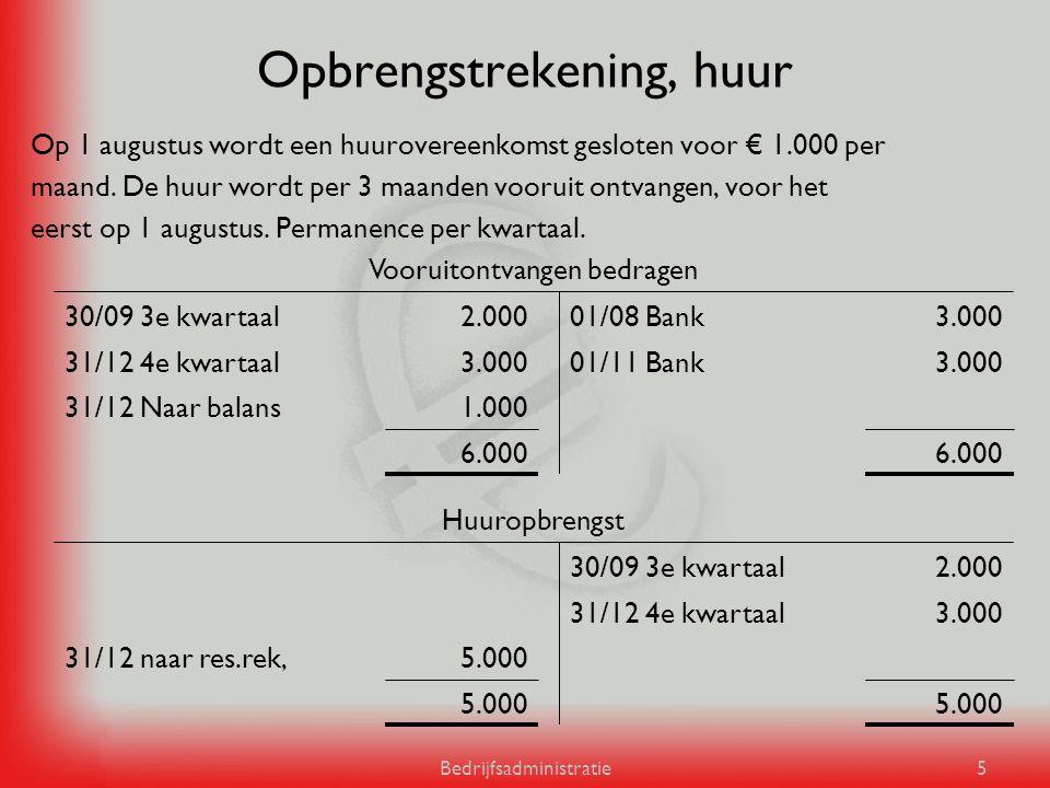 Bedrijfsadministratie5 Opbrengstrekening, huur Op 1 augustus wordt een huurovereenkomst gesloten voor € 1.000 per maand. De huur wordt per 3 maanden v