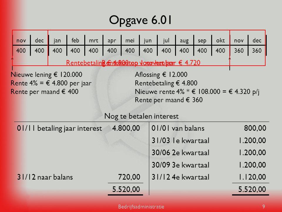 Bedrijfsadministratie9 Opgave 6.01 5.520,00 1.120,0031/12 4e kwartaal720,0031/12 naar balans 1.200,0030/09 3e kwartaal 1.200,0030/06 2e kwartaal 1.200