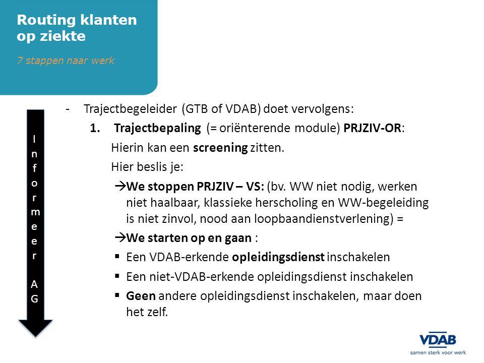 -Trajectbegeleider (GTB of VDAB) doet vervolgens: 1.Trajectbepaling (= oriënterende module) PRJZIV-OR: Hierin kan een screening zitten.