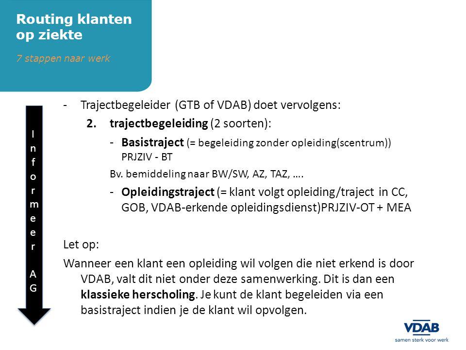 -Trajectbegeleider (GTB of VDAB) doet vervolgens: 2.trajectbegeleiding (2 soorten): -Basistraject (= begeleiding zonder opleiding(scentrum)) PRJZIV - BT Bv.
