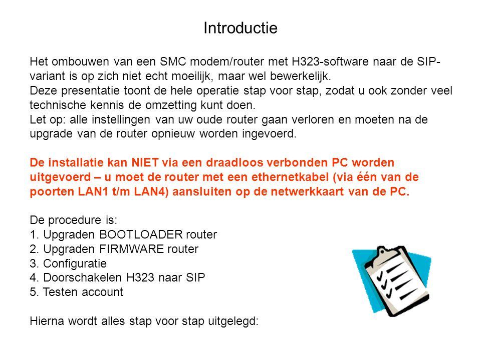 Introductie Het ombouwen van een SMC modem/router met H323-software naar de SIP- variant is op zich niet echt moeilijk, maar wel bewerkelijk. Deze pre