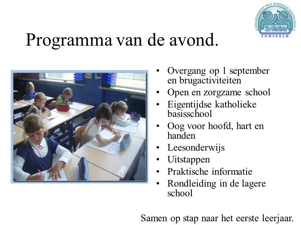 Programma van de avond. •Overgang op 1 september en brugactiviteiten •Open en zorgzame school •Eigentijdse katholieke basisschool •Oog voor hoofd, har