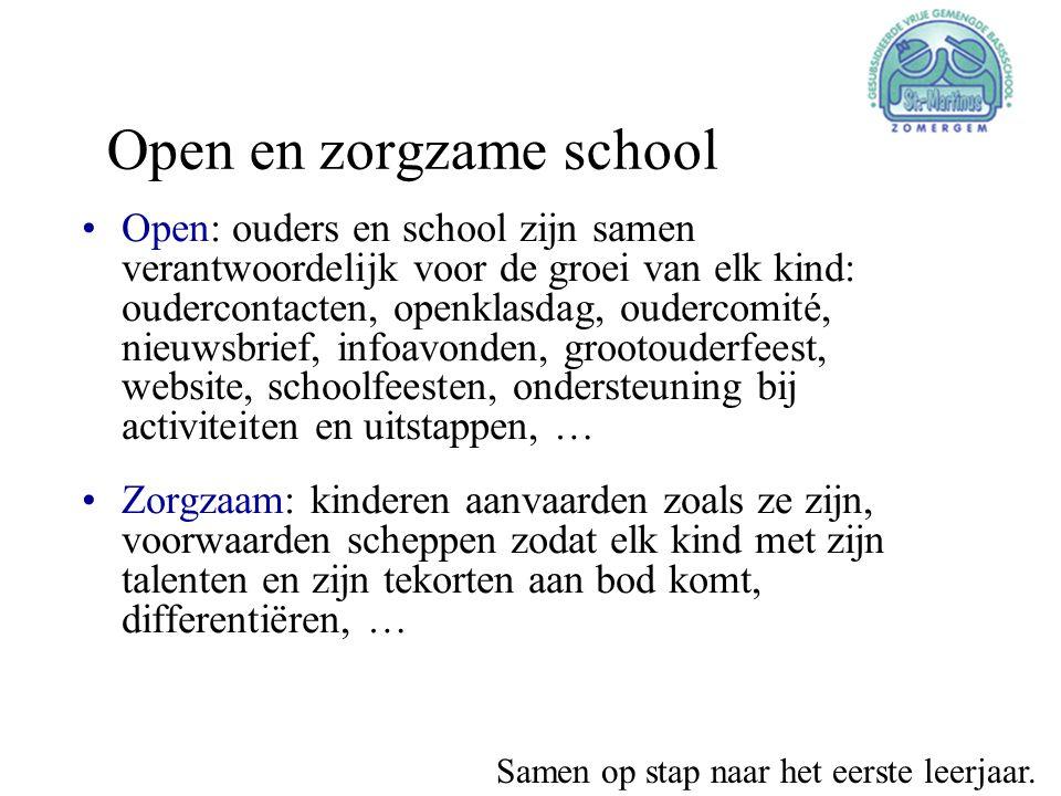 Open en zorgzame school •Open: ouders en school zijn samen verantwoordelijk voor de groei van elk kind: oudercontacten, openklasdag, oudercomité, nieu