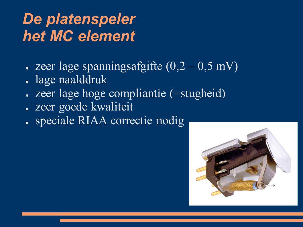 De platenspeler het MC element ● zeer lage spanningsafgifte (0,2 – 0,5 mV) ● lage naalddruk ● zeer lage hoge compliantie (=stugheid) ● zeer goede kwal
