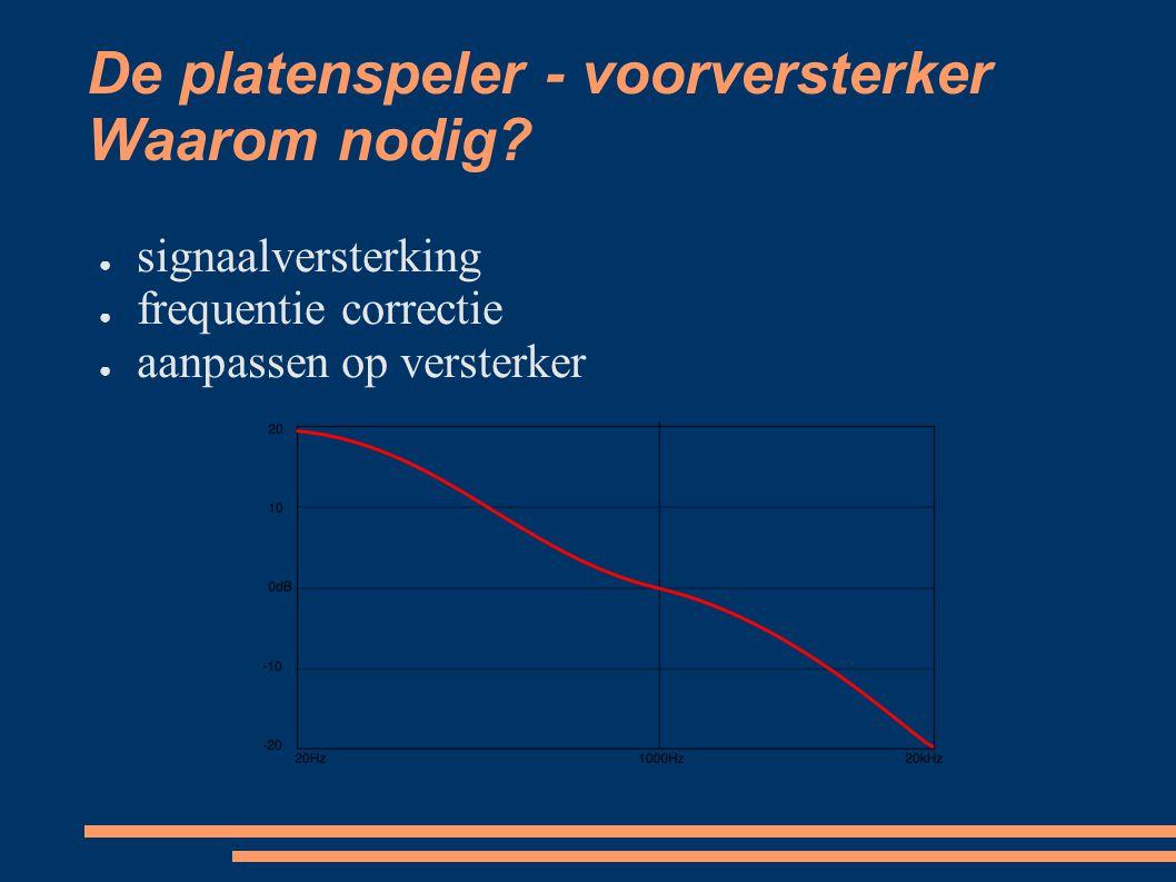 De platenspeler - voorversterker Waarom nodig? ● signaalversterking ● frequentie correctie ● aanpassen op versterker