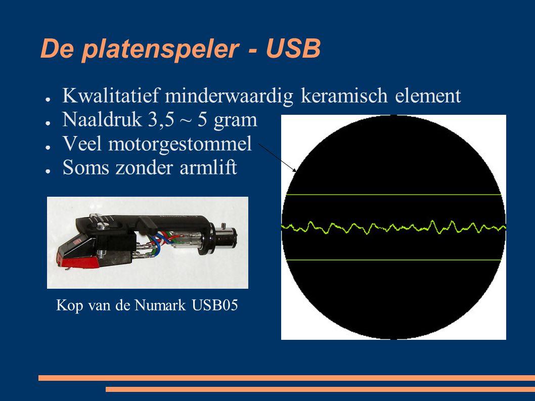 De platenspeler - USB ● Kwalitatief minderwaardig keramisch element ● Naaldruk 3,5 ~ 5 gram ● Veel motorgestommel ● Soms zonder armlift Kop van de Numark USB05