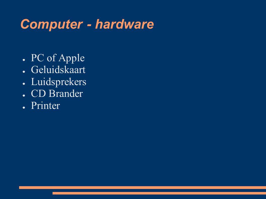 Computer - hardware ● PC of Apple ● Geluidskaart ● Luidsprekers ● CD Brander ● Printer