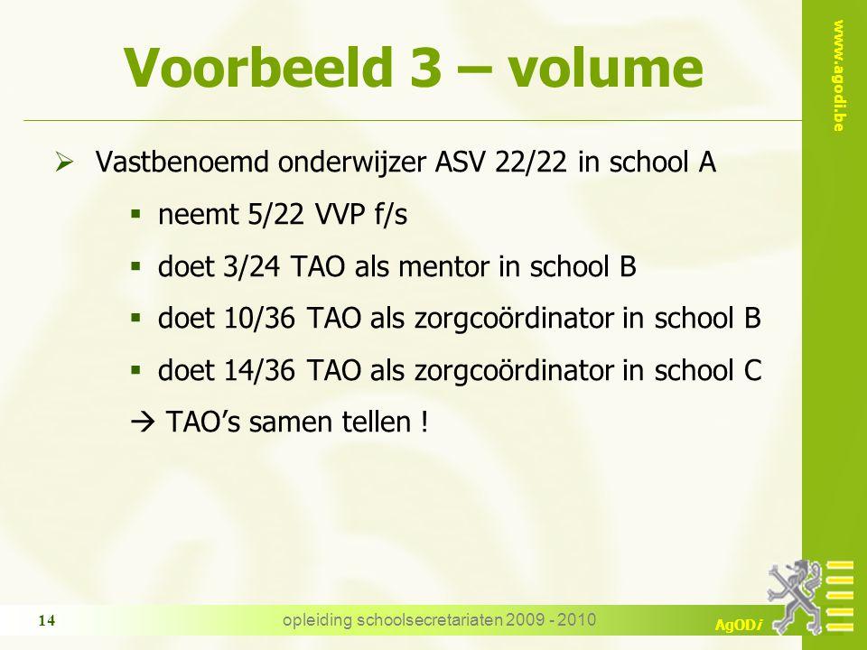 www.agodi.be AgODi opleiding schoolsecretariaten 2009 - 2010 14 Voorbeeld 3 – volume  Vastbenoemd onderwijzer ASV 22/22 in school A  neemt 5/22 VVP