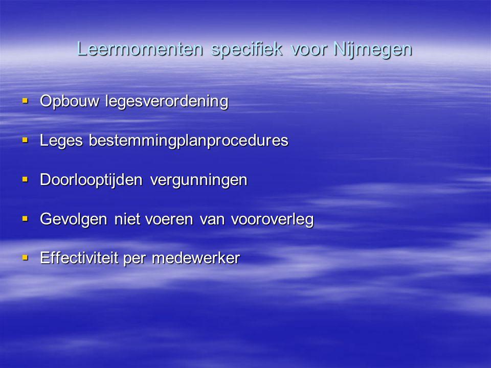 Leermomenten specifiek voor Nijmegen  Opbouw legesverordening  Leges bestemmingplanprocedures  Doorlooptijden vergunningen  Gevolgen niet voeren v