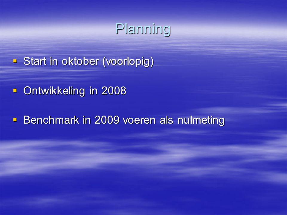 Planning  Start in oktober (voorlopig)  Ontwikkeling in 2008  Benchmark in 2009 voeren als nulmeting