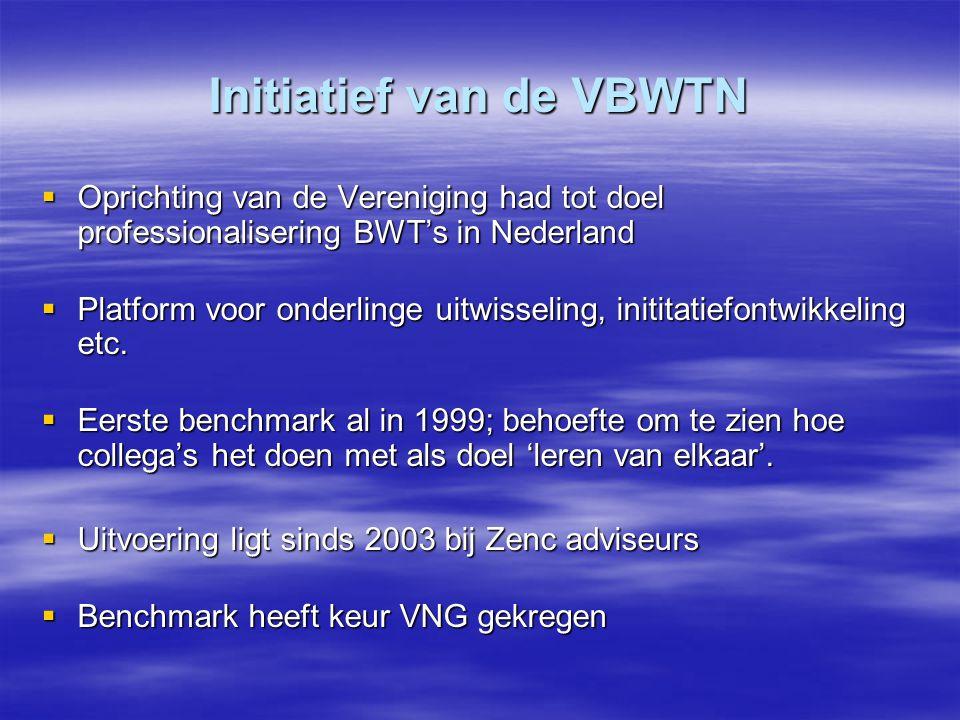 Initiatief van de VBWTN  Oprichting van de Vereniging had tot doel professionalisering BWT's in Nederland  Platform voor onderlinge uitwisseling, in