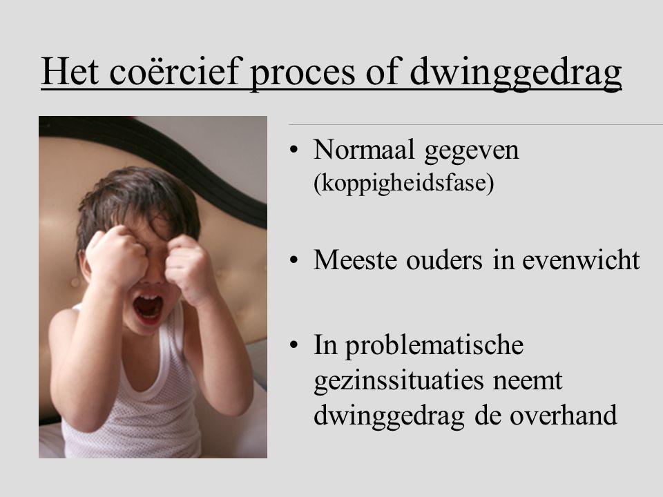 Het coërcief proces of dwinggedrag •Normaal gegeven (koppigheidsfase) •Meeste ouders in evenwicht •In problematische gezinssituaties neemt dwinggedrag