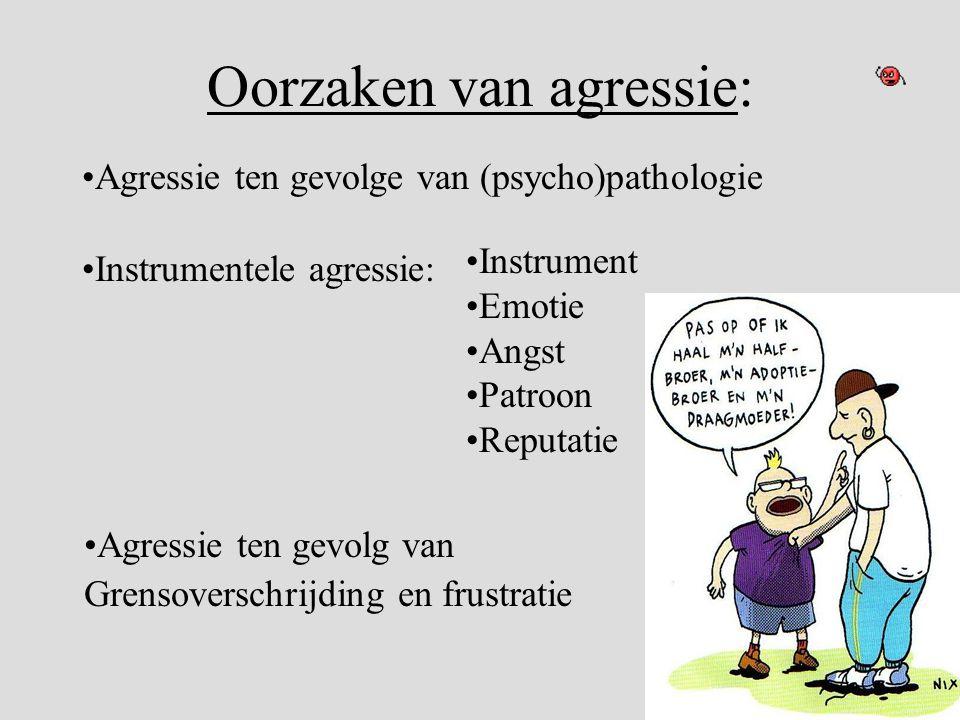 Oorzaken van agressie: •Agressie ten gevolge van (psycho)pathologie •Agressie ten gevolg van Grensoverschrijding en frustratie •Instrumentele agressie
