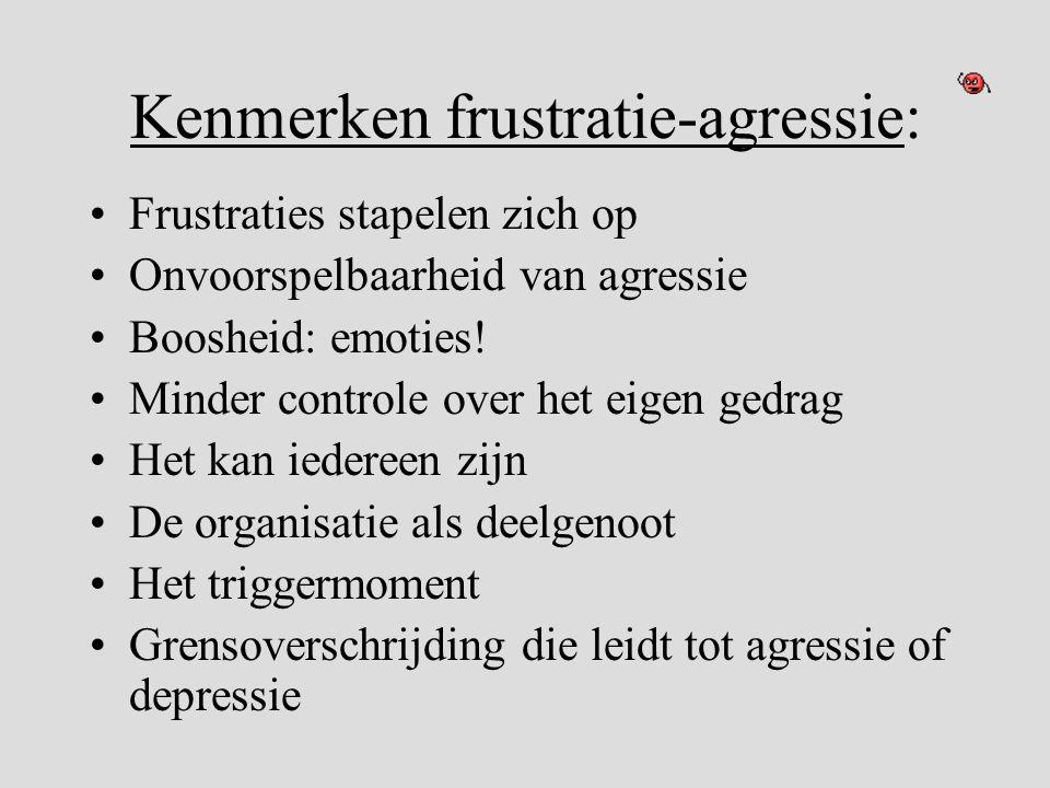 Kenmerken frustratie-agressie: •Frustraties stapelen zich op •Onvoorspelbaarheid van agressie •Boosheid: emoties! •Minder controle over het eigen gedr