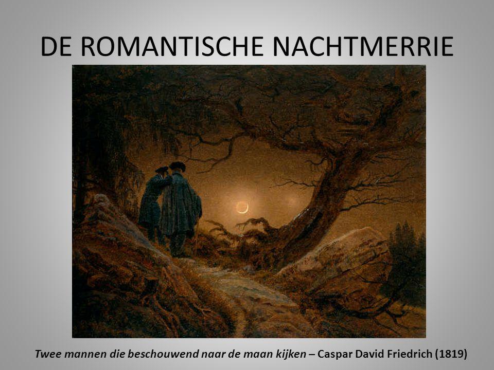 DE ROMANTISCHE NACHTMERRIE Twee mannen die beschouwend naar de maan kijken – Caspar David Friedrich (1819)