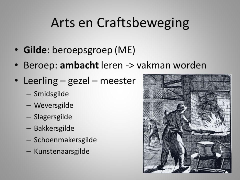 Arts en Craftsbeweging • Gilde: beroepsgroep (ME) • Beroep: ambacht leren -> vakman worden • Leerling – gezel – meester – Smidsgilde – Weversgilde – S