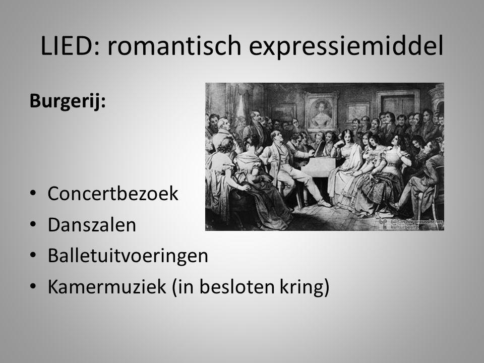LIED: romantisch expressiemiddel Burgerij: • Concertbezoek • Danszalen • Balletuitvoeringen • Kamermuziek (in besloten kring)