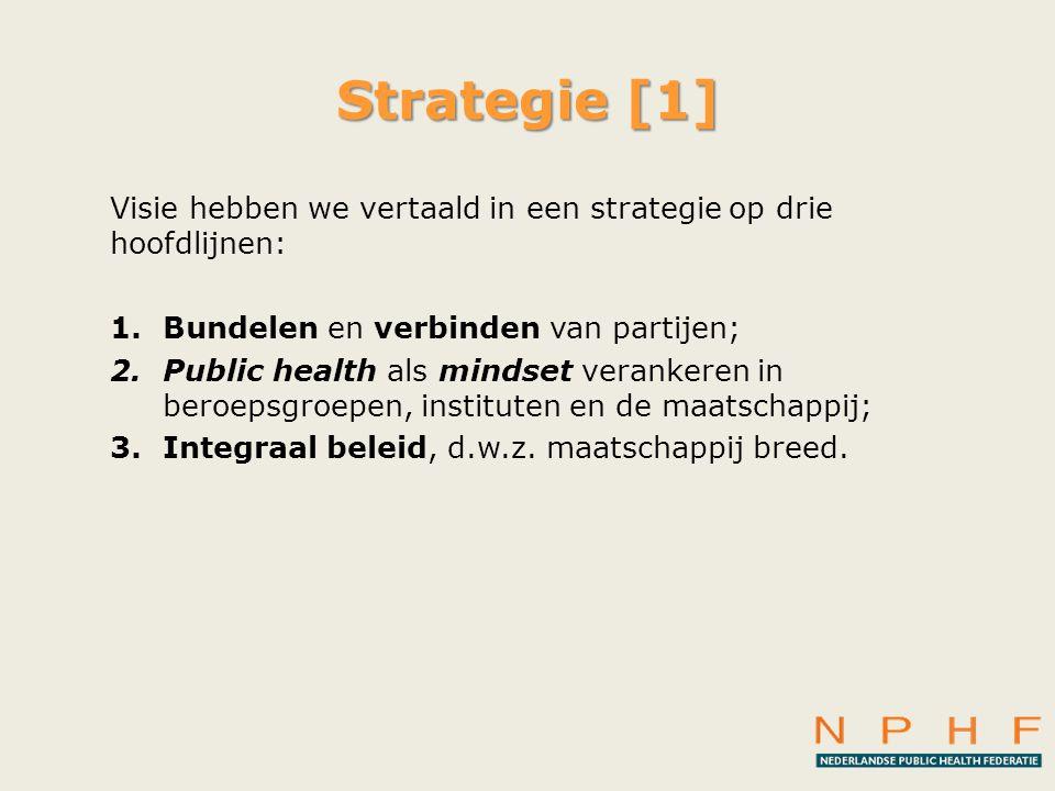 Strategie [1] Visie hebben we vertaald in een strategie op drie hoofdlijnen: 1.Bundelen en verbinden van partijen; 2.Public health als mindset veranke