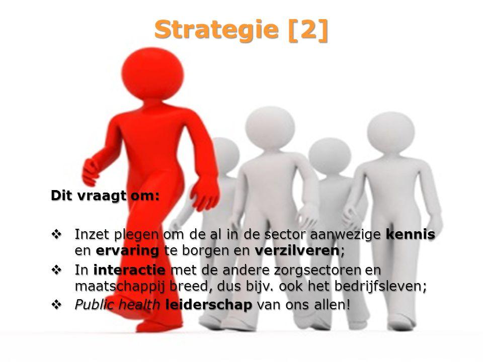 Strategie [2] Dit vraagt om:  Inzet plegen om de al in de sector aanwezige kennis en ervaring te borgen en verzilveren;  In interactie met de andere
