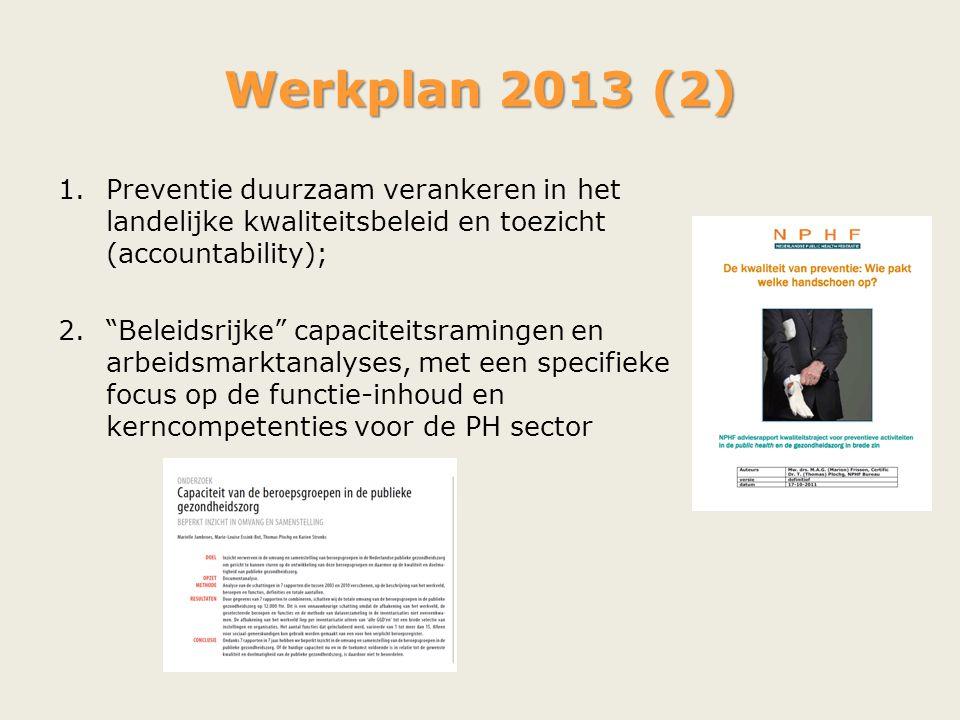 """Werkplan 2013 (2) 1.Preventie duurzaam verankeren in het landelijke kwaliteitsbeleid en toezicht (accountability); 2.""""Beleidsrijke"""" capaciteitsraminge"""