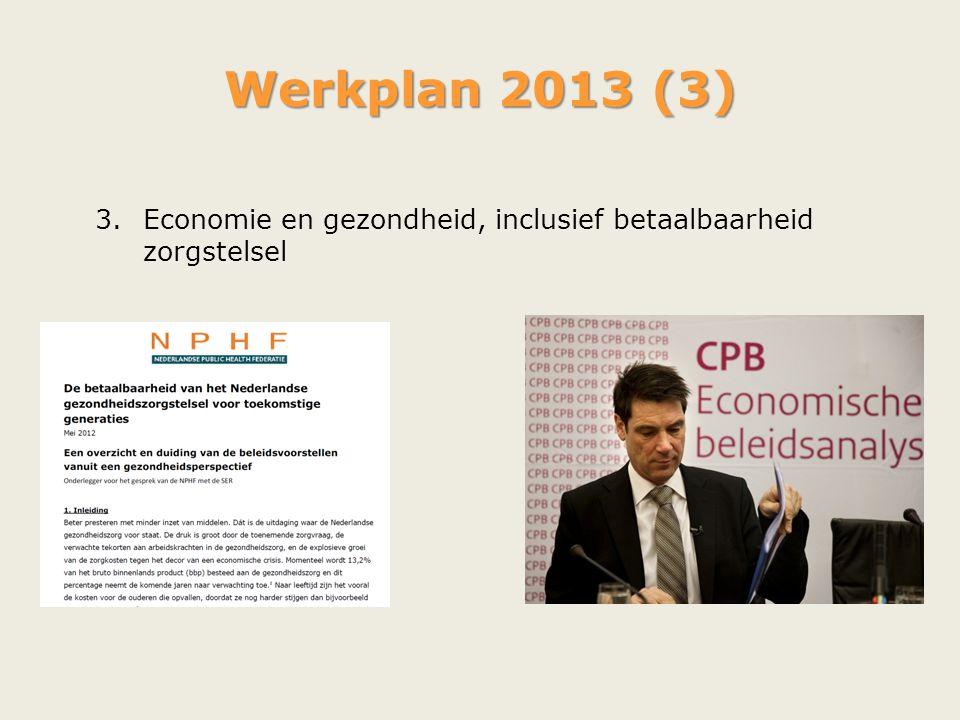 Werkplan 2013 (3) 3.Economie en gezondheid, inclusief betaalbaarheid zorgstelsel