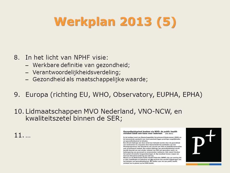 Werkplan 2013 (5) 8.In het licht van NPHF visie: – Werkbare definitie van gezondheid; – Verantwoordelijkheidsverdeling; – Gezondheid als maatschappeli