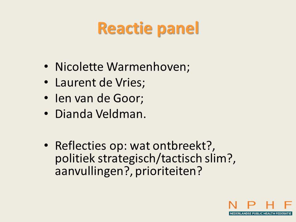 Reactie panel • Nicolette Warmenhoven; • Laurent de Vries; • Ien van de Goor; • Dianda Veldman. • Reflecties op: wat ontbreekt?, politiek strategisch/