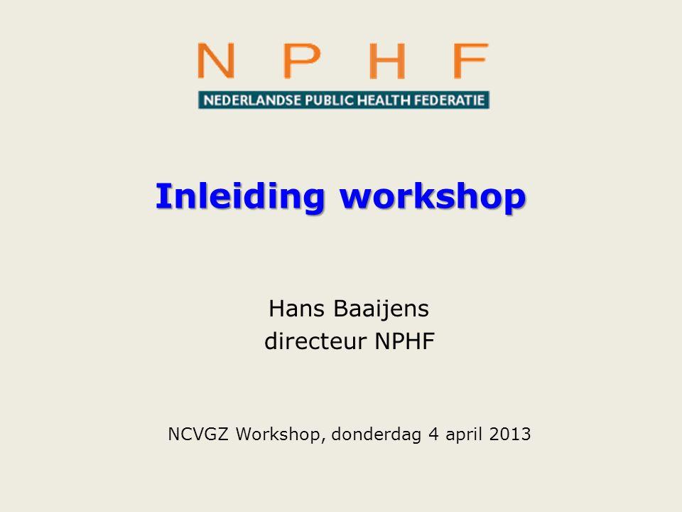 Inleiding workshop Hans Baaijens directeur NPHF NCVGZ Workshop, donderdag 4 april 2013