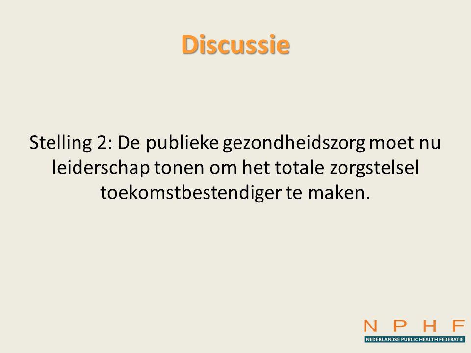 Discussie Stelling 2: De publieke gezondheidszorg moet nu leiderschap tonen om het totale zorgstelsel toekomstbestendiger te maken.