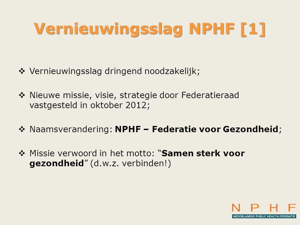 Vernieuwingsslag NPHF [1]  Vernieuwingsslag dringend noodzakelijk;  Nieuwe missie, visie, strategie door Federatieraad vastgesteld in oktober 2012;