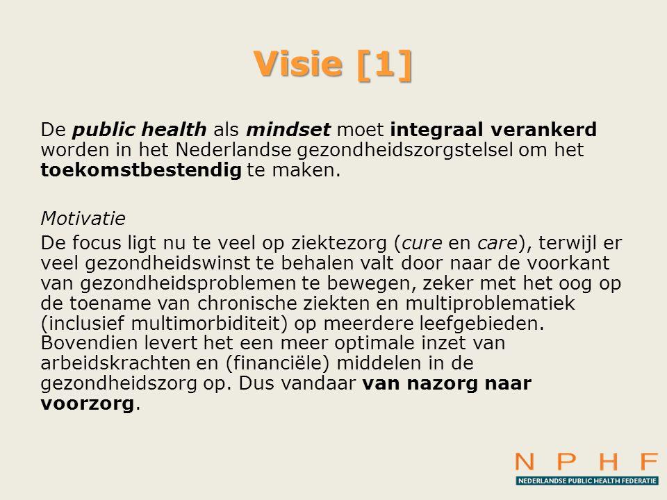 Visie [1] De public health als mindset moet integraal verankerd worden in het Nederlandse gezondheidszorgstelsel om het toekomstbestendig te maken. Mo