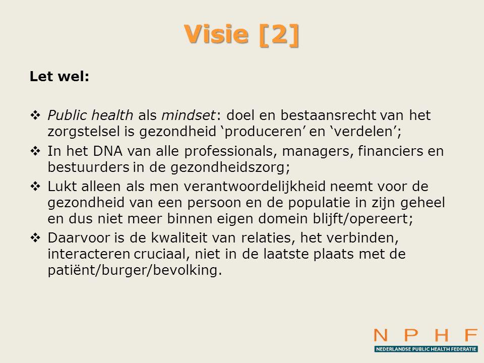 Visie [2] Let wel:  Public health als mindset: doel en bestaansrecht van het zorgstelsel is gezondheid 'produceren' en 'verdelen';  In het DNA van a
