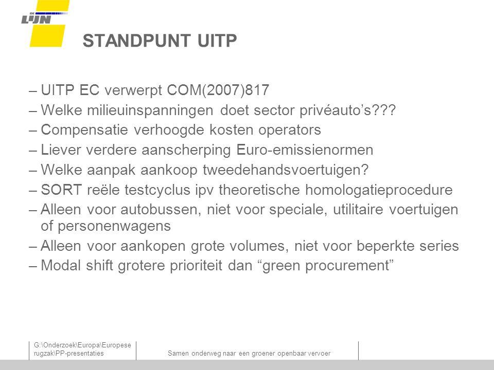 G:\Onderzoek\Europa\Europese rugzak\PP-presentatiesSamen onderweg naar een groener openbaar vervoer STANDPUNT UITP –UITP EC verwerpt COM(2007)817 –Welke milieuinspanningen doet sector privéauto's??.