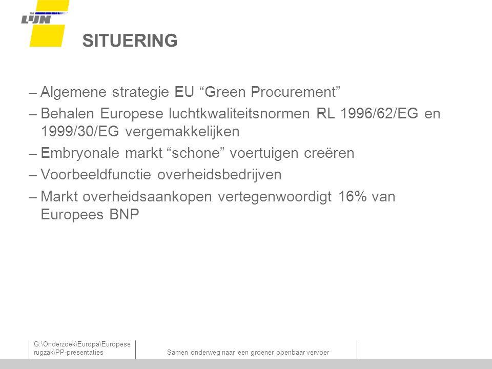 G:\Onderzoek\Europa\Europese rugzak\PP-presentatiesSamen onderweg naar een groener openbaar vervoer SITUERING –Algemene strategie EU Green Procurement –Behalen Europese luchtkwaliteitsnormen RL 1996/62/EG en 1999/30/EG vergemakkelijken –Embryonale markt schone voertuigen creëren –Voorbeeldfunctie overheidsbedrijven –Markt overheidsaankopen vertegenwoordigt 16% van Europees BNP