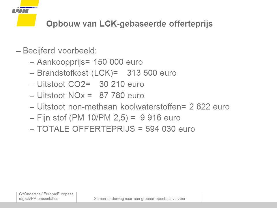 G:\Onderzoek\Europa\Europese rugzak\PP-presentatiesSamen onderweg naar een groener openbaar vervoer Opbouw van LCK-gebaseerde offerteprijs –Becijferd voorbeeld: –Aankoopprijs= 150 000 euro –Brandstofkost (LCK)=313 500 euro –Uitstoot CO2=30 210 euro –Uitstoot NOx =87 780 euro –Uitstoot non-methaan koolwaterstoffen= 2 622 euro –Fijn stof (PM 10/PM 2,5) = 9 916 euro –TOTALE OFFERTEPRIJS = 594 030 euro