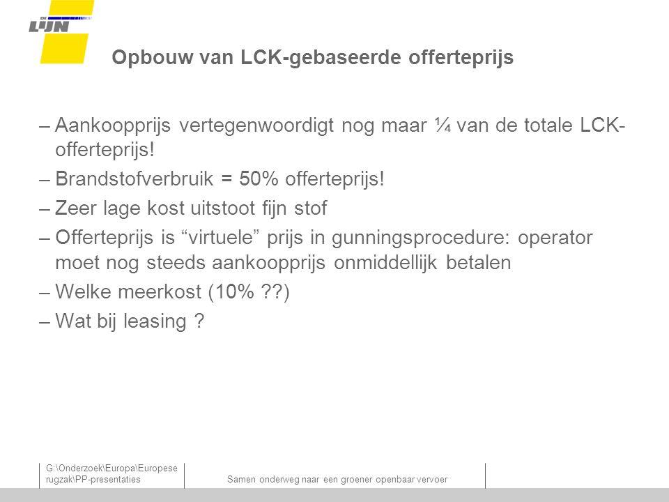 G:\Onderzoek\Europa\Europese rugzak\PP-presentatiesSamen onderweg naar een groener openbaar vervoer Opbouw van LCK-gebaseerde offerteprijs –Aankoopprijs vertegenwoordigt nog maar ¼ van de totale LCK- offerteprijs.