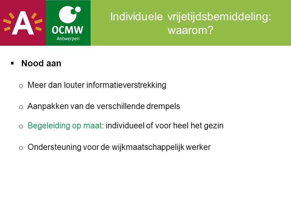 Voor wie  Personen met een actief begeleidingsdossier bij OCMW Antwerpen: o die kampen met financiële, praktische, psychologische, sociale en/of culturele drempels waardoor zij hun weg niet vinden naar socio- culturele en sportieve activiteiten.