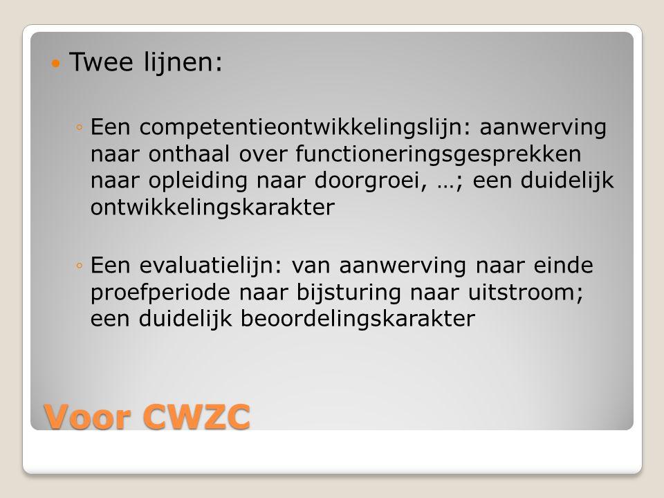 Voor CWZC  Twee lijnen: ◦Een competentieontwikkelingslijn: aanwerving naar onthaal over functioneringsgesprekken naar opleiding naar doorgroei, …; ee