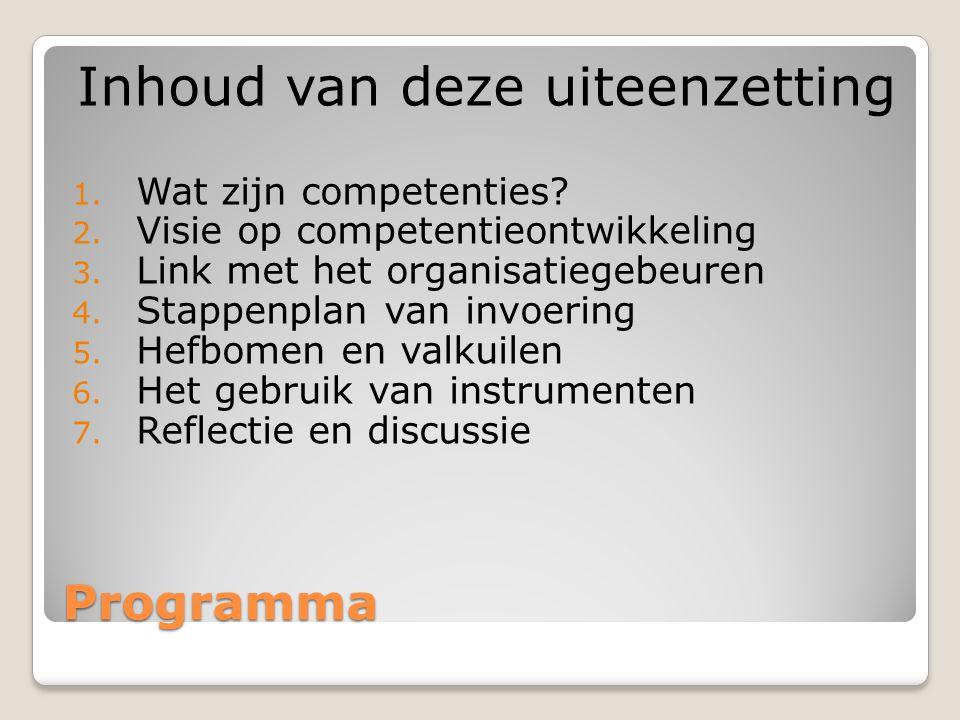 Programma Inhoud van deze uiteenzetting 1. Wat zijn competenties? 2. Visie op competentieontwikkeling 3. Link met het organisatiegebeuren 4. Stappenpl