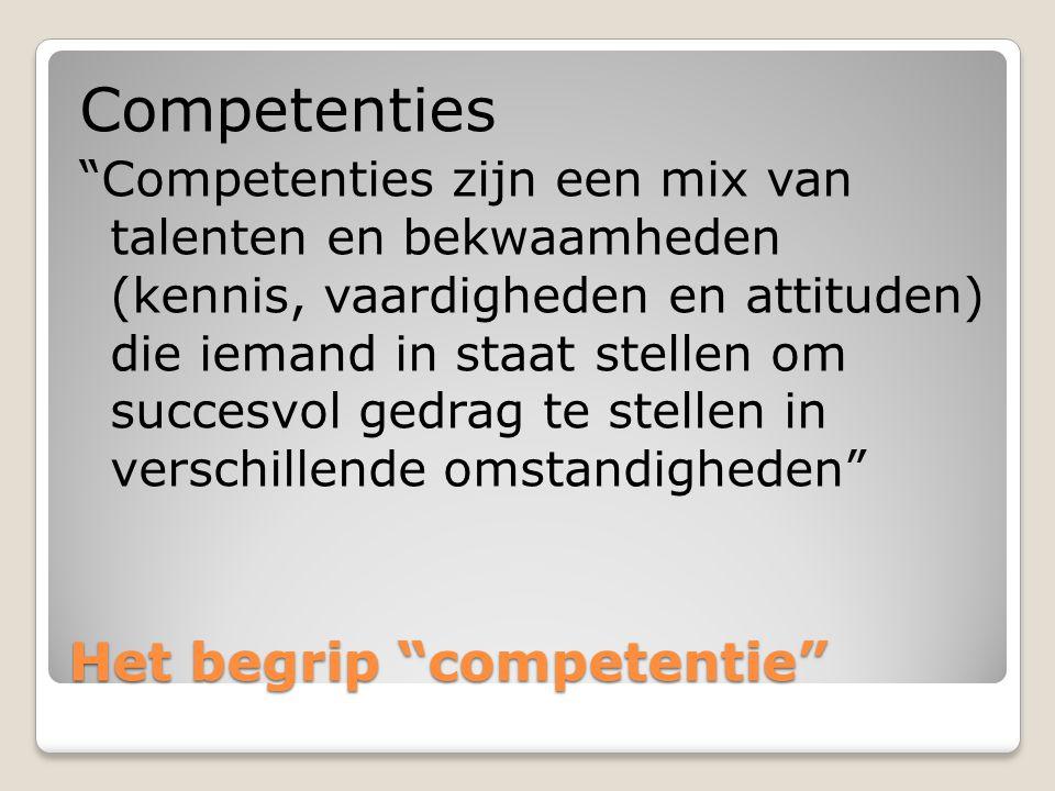 Het begrip competentie Het begrip competentie Competentie= kennis*vaardigheid*attitude KENNIS VAARDIGHEDEN OVERTUIGINGEN WAARDEN & NORMEN ZELFCONCEPT & MOTIEVEN