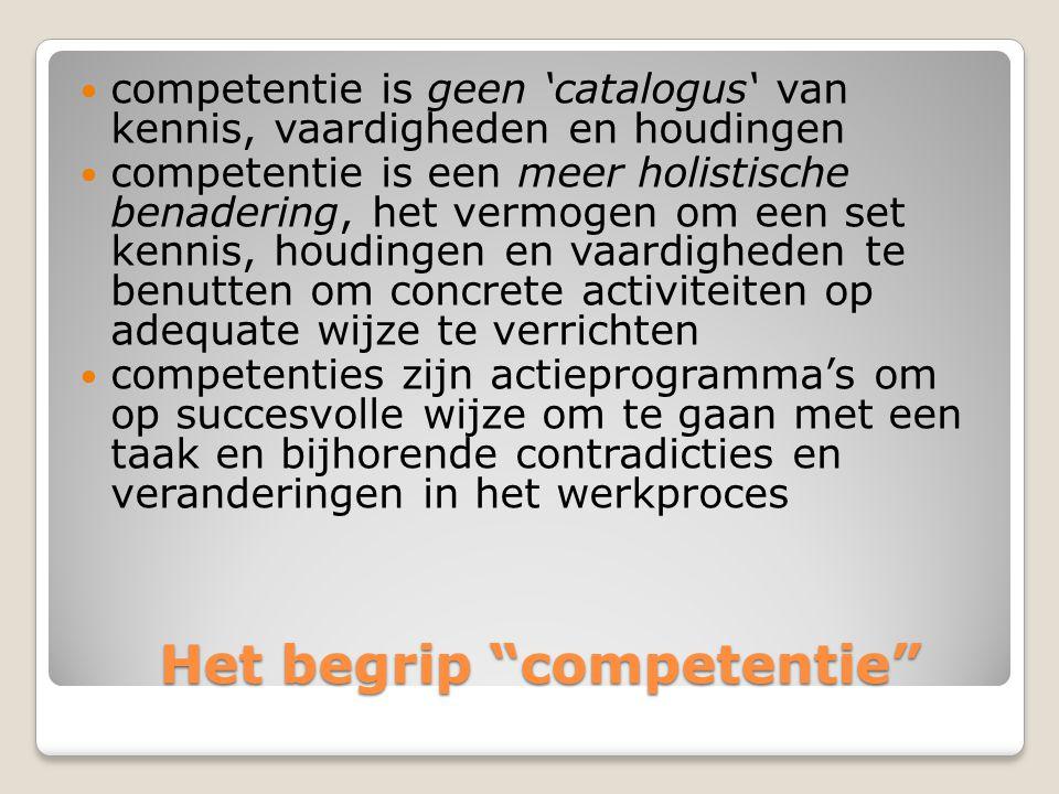 """Het begrip """"competentie"""" Het begrip """"competentie""""  competentie is geen 'catalogus' van kennis, vaardigheden en houdingen  competentie is een meer ho"""