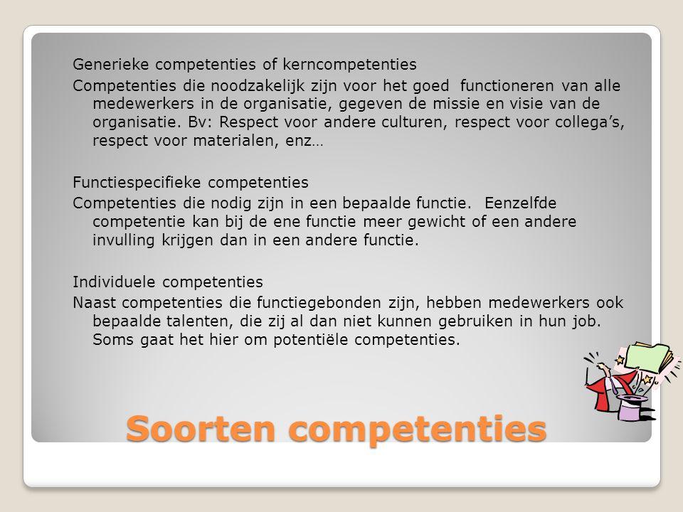 Soorten competenties Soorten competenties Generieke competenties of kerncompetenties Competenties die noodzakelijk zijn voor het goed functioneren van