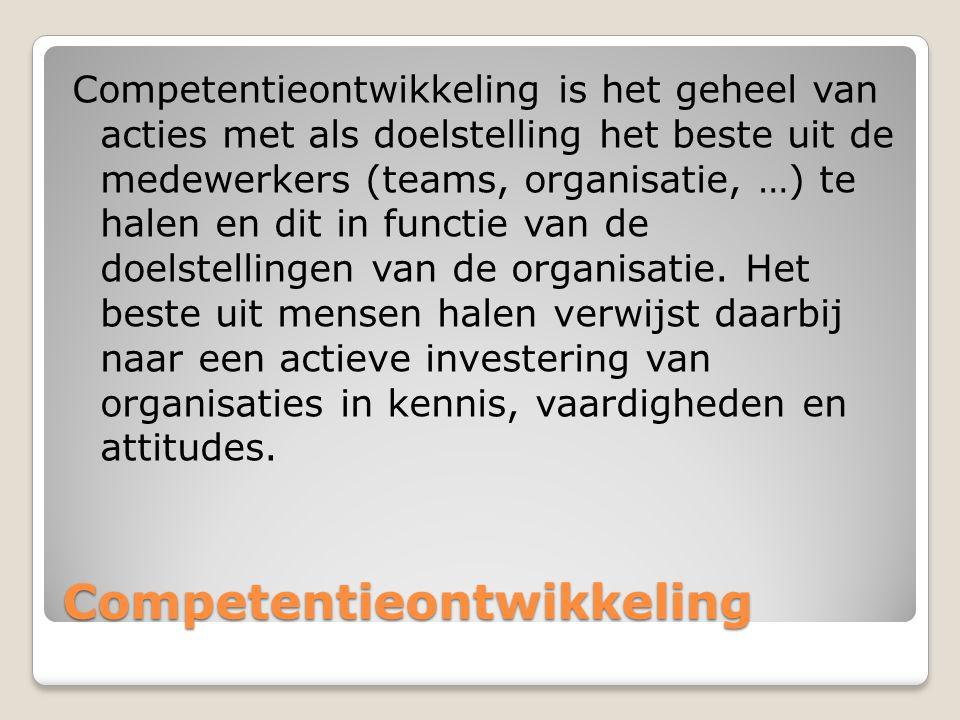 Competentieontwikkeling Competentieontwikkeling Competentieontwikkeling is het geheel van acties met als doelstelling het beste uit de medewerkers (te