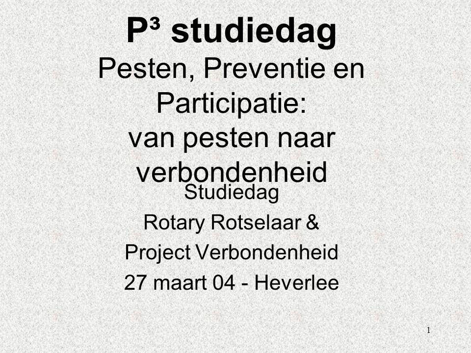 1 P³ studiedag Pesten, Preventie en Participatie: van pesten naar verbondenheid Studiedag Rotary Rotselaar & Project Verbondenheid 27 maart 04 - Hever