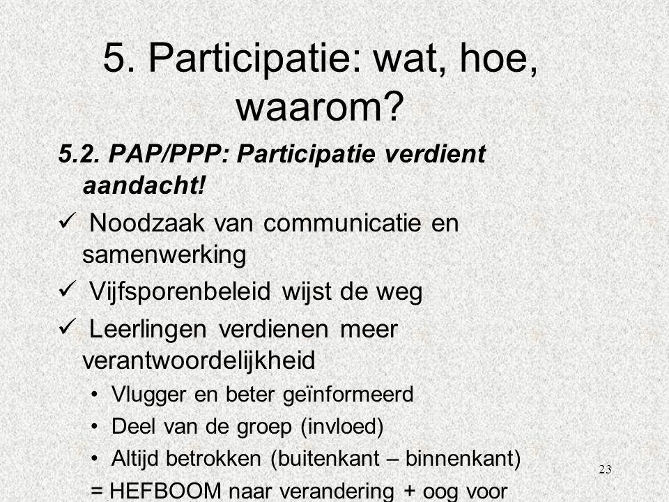 23 5. Participatie: wat, hoe, waarom? 5.2. PAP/PPP: Participatie verdient aandacht!  Noodzaak van communicatie en samenwerking  Vijfsporenbeleid wij