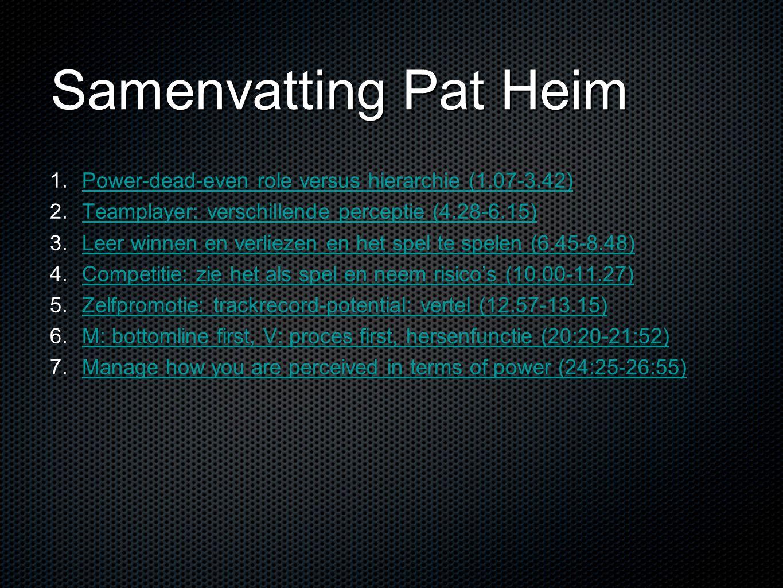 Samenvatting Pat Heim 1. 1. Power-dead-even role versus hierarchie (1.07-3.42) Power-dead-even role versus hierarchie (1.07-3.42) 2. 2. Teamplayer: ve